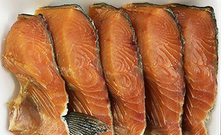 Dried salmon fillet seasoned with soy sauce
